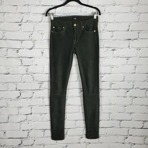 7 For All Mankind Green Suede Skinny Pants
